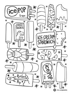These sheets have big, open spaces for kids and finer details for grown-ups and older kids—print them out, grab some pencil crayons and take a little summer chill break and colour together! Summer Coloring Sheets, Cute Coloring Pages, Adult Coloring Pages, Coloring Pages For Kids, Coloring Books, Colouring In Sheets, Summer Drawings, Art Drawings For Kids, Colorful Drawings
