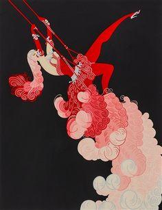 Vintage Erte Poster, At the theatre - Trapeze, Art Deco, item Art Nouveau Fashion Illustration Print, x 14 Arte Art Deco, Moda Art Deco, Art Deco Artists, Estilo Art Deco, Art Deco Print, Art Prints, Art Deco Illustration, Inspiration Art, Art Inspo
