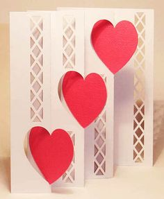 Categories triple fold card with large hearts. The cross hatching could be simulated by printed paper