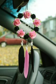 Black And Pink Flower Dreamcatcher: Cute Car by SarahDycePaintings