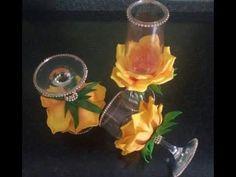 Fabric Flower Tutorial, Fabric Flowers, Paper Flowers, Decorated Wine Glasses, Glass Jars, Ava, Birthday Candles, Glitter, Wedding