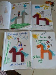 Martinho (folding and drawing)- lenda de S. Martinho (dobragem e desenho) legend of S. Summer Crafts, Fun Crafts, Diy And Crafts, Crafts For Kids, Hl Martin, Saint Martin, Playroom Slide, Paper Plate Animals, Art Projects