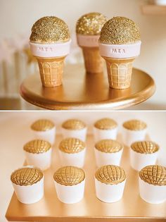 Gold & Pink Microphone Cupcakes