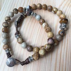 Jasper Leather Knotted Bracelet from Lakshmi Custom Jewelry for $40.00