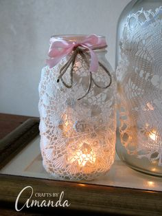 Make beautiful doily luminaries using recycled jars, doilies and a little burlap and twine. These doily luminaries are perfect for weddings, holidays, or just for some added beauty. Such an easy craft project!