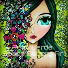 Watercolor Face, Day Of The Dead Art, Cartoon Design, Weird Art, Angel Art, Simple Art, Whimsical Art, Face Art, Cute Drawings