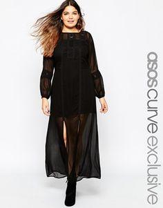 Vestido largo estilo boho con aplicaciones encaje de croché de ASOS CURVE