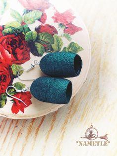 Green silk earrings Silk Сocoons earrings .  Silk. by AjurForm