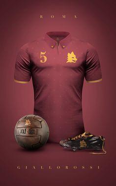 AS Roma - Giallorossi Vintage Clubs II on Behance - Emilio Sansolini - Graphic Design Poster Club Football, Retro Football, World Football, Football Kits, Football Jerseys, Sport Football, As Roma, Camisa Retro, Soccer Uniforms