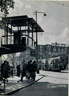 1958. Stationsplein with tram control tower near Central Station in Amsterdam. Photo Ed van Wijk. #amsterdam #1950 #stationsplein