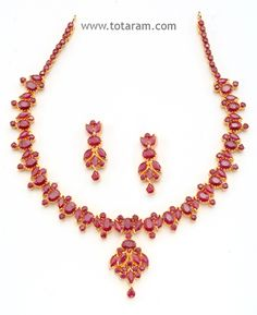 Check out the deal on 22 Karat Gold Rubies Necklace & Drop Earrings Set at Totaram Jewelers: Buy Indian Gold jewelry & 18K Diamond jewelry