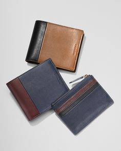 Men's Wallets: The Bleecker Compact ID Wallet in Harness Leather, with the Bleecker Zip Card Case in Colorblock Leather