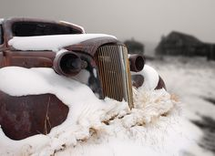 1937 vintage Chevrolet master deluxe coupe covered in snow, Bodie State Historic…