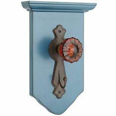 Teal Door Knob Hook - for hanging backpacks vertically