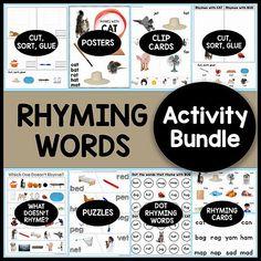 Rhyming Words Activity Bundle #1plus1plus1 #rhyming #kindergarten Rhyming Kindergarten, Rhyming Activities, Kindergarten Teachers, Activities For Kids, Early Learning, Kids Learning, Rhyming Words, Preschool At Home, Teaching Tips