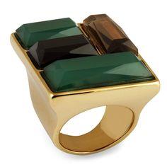 Anel Semi Joia Banhado a Ouro 18k com Quartzo Verde, Quartzo Fumê e Ônix.