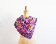 Oscar de la renta silk scarf  vintage oscar de larenta floral shawl made in Japan