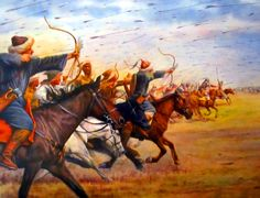 Mongol horse archers charging into battle