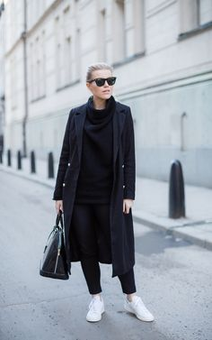 Linda Juhola in long coat from Missguided, Zaful black knit, Zara pants, Ray Ban sunglasses, Louis Vuitton bag and white Adidas sneakers
