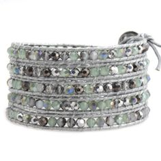 5-Wrap bracelet with silver dorado and mint green crystals on silver leather. currently at $27