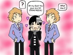 An interesting notion. Does anyone else know other than me that Todd Haberkorn voices both Death the Kid and Hikaru?(I KNEW IT ! I Love Anime, Awesome Anime, Awesome Stuff, Fun Stuff, Random Stuff, Todd Haberkorn, Anime Soul, Ouran Host Club, Ouran Highschool