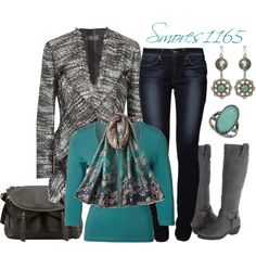 """""""Gray & Turquoise"""" by smores1165 on Polyvore"""