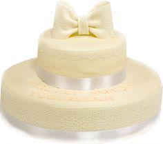 Tort komunijny kokarda Tort dwupoziomowy, około 30 porcji. Można go wykonać także na inną ilość porcji.