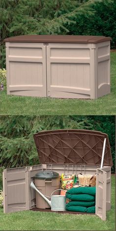Give your green thumb a workout—this stylish Suncast shed has space for all your gardening gear and more! Suncast Sheds, Outdoor Furniture, Outdoor Decor, Cool Stuff, Interesting Stuff, Future House, Outdoor Spaces, Bbq, Backyard