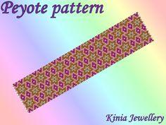 PD008 Peyote bracelet pattern; odd count, pdf pattern by kiniajewellery on Etsy