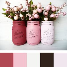Color Palette: Valentine's Day Painted and Distressed Mason Jars