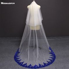 Quality New Arrival Bling Sequins Royal Blue Lace White Ivory Tulle Wedding Veil 2 Layer with Blusher Cover Face Bridal Veil Comb with free worldwide shipping on AliExpress Mobile Wedding Veils, Tulle Wedding, Bridal Veils, Blush Bridal, Bridal Comb, Wedding Bouquet, Wedding Cake, Cobalt Blue Weddings, Royal Blue Wedding Dresses