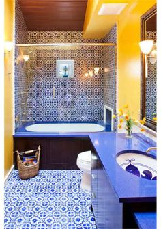 Dramatic Transitional Bathroom by Susan Brown