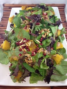 Rose Reisman spinach salad recipe with candied almonds, butternut squash and pomegranate seeds. Candied Almonds, Spinach Salad Recipes, Pomegranate Seeds, Vegan Recipes, Vegan Food, Butternut Squash, Zucchini, Cabbage, Salads