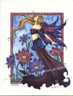 Beautiful Silver Full Moon Faerie FAIRY POSTCARD ART PRINT BY AMY BROWN