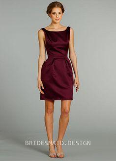 Bateau Neckline Plum Satin Sleeveless Knee Length Bridesmaid Dress
