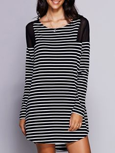 Casual Scoop Neck Mesh Panelled Long Sleeve Striped Dress For Women