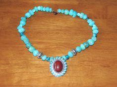 Turquoise beaded necklace.  Has mixed turqoiuse by GabiLuBoutique, $40.00