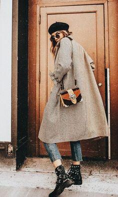 Fashion, Street Style, Denim, Boots, Bag, Beret, Sunglasses