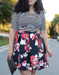 Elegant Scoop Neck Striped T-Shirt and Floral Printed Skirt Twinset
