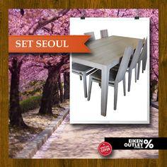 *Set Seoul met 6 eetkamerstoelen - eikenoutletstore.nl* http://www.eikenoutletstore.nl/a-44191748/tafels/set-seoul-met-stoelen/    Deze prachtige eetkamerstoelen zijn van hoge kwaliteit en hebben een robuuste constructie. De poten zijn gemaakt van stevig Europees eikenhout wat de stabiliteit ten goede komt. Tafel; Hoog 79 cm, Lang 200 cm, Breed 100 cm, Poten 7*7 cm naar 7*3 cm, Bladdikte 7 cm. Afwerking Nordic white + Pure, de tafel is afgewerkt met nordic white en pure kleur.