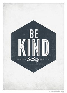 Be Kind Today poster vintage style typography wall by NeueGraphic