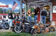 Friends and their Harleys are relaxing around the old Motorcycle Shop Signed and Numbered Comes with Certificate Image Size 29 x 19 Free Pick-up Half Price Framing Woodbury Mn 55125 651-738-9209