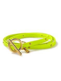 Gorjana Graham Leather Studded Wrap Bracelet in Neon Yellow is on my shopping list. Love the bright colors this spring.