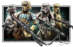 2 stormtroopers and two shoretroopers with their own unique armor designs Art by Shane Molina See more stormtrooper art here. More Empire art here. More Original Trilogy art here. Star Wars Pictures, Star Wars Images, Samurai Wallpaper, Star Wars Fan Art, Evil Empire, Star Wars Clone Wars, Clone Trooper, Marvel, Star Wars Characters
