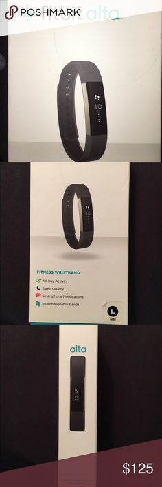 Brand new Fitbit Alta Black band with stainless steel tracker. Size Large. Perfect condition. Never opened or worn. Fitbit Accessories Watches