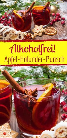 Alkoholfreier winterlicher Apfel-Holunder-Punsch Non-alcoholic and wintry: apple elderberry punch to warm up in winter Drinks Alcohol Recipes, Cocktail Recipes, Cocktail Food, Healthy Eating Tips, Healthy Snacks, Christmas Drinks Alcohol, Healthy Starbucks Drinks, Vegetable Drinks, Non Alcoholic