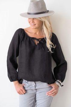 CINDY Linen blouse, BLACK