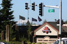 Pacific Northwest icons together: Mt. St. Helens and Burgerville.  Vancouver, WA.  07/2013.