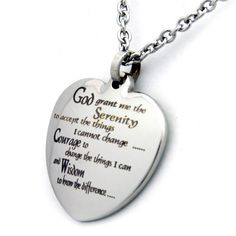 Serenity Prayer Heart Stainless Steel Necklace (Silver) 94ff88cbe46ce