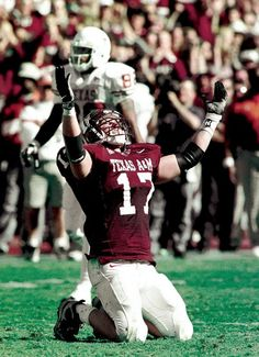 Aggie linebacker Brian Gamble celebrates an emotional win over the Longhorns in 1999. Eight days after the collapse of Texas A & M's traditional pregame bonfire that killed 12 people.